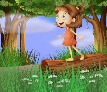 blue eyes girl: Illustration of a girl in the forest