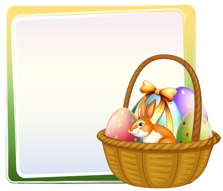 Illustration of a basket of Easter egg with a bunny on a white background Vector