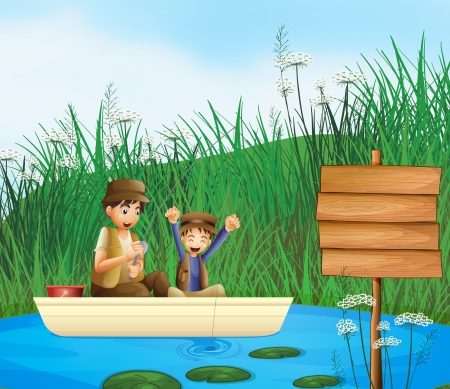 cartoon wood bucket: Illustration of kids catching fish in a river and a notice board Illustration