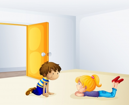 Illustration of kids chatting inside a room Vector