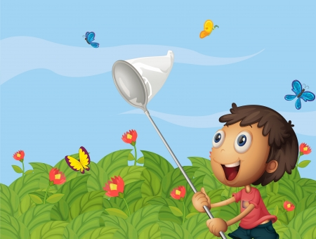 3d butterfly: Illustration of a butterfly catcher in the garden Illustration