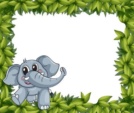 Ilustración de un elefante sonriente y marco planta sobre un fondo blanco