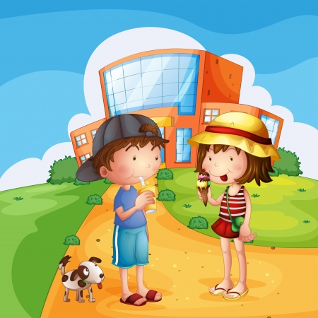 Illustration of kids and a puppy near the school Vector