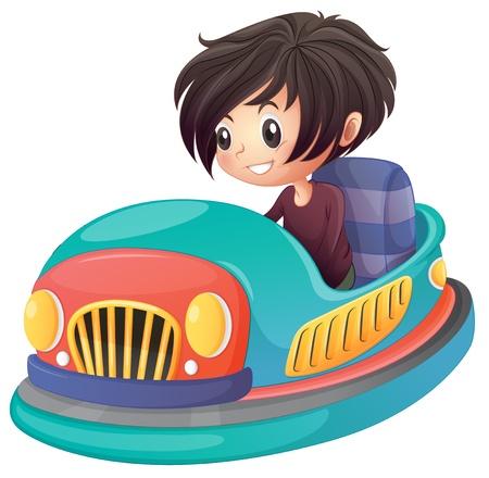 Ilustración de un muchacho que conduce el coche de parachoques en un fondo blanco Ilustración de vector