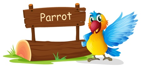 bill board: Illustration of a colorful parrot beside a signboard on a white background Illustration
