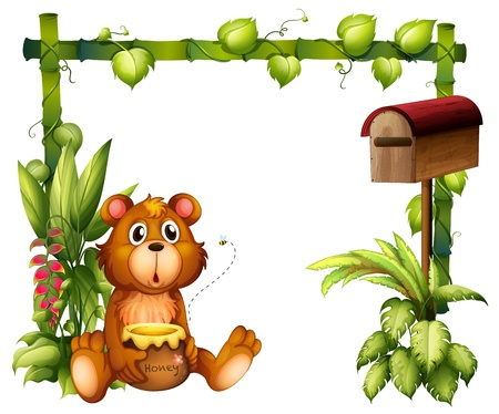 stick insect: Illustration of a bear near the mailbox on a white background