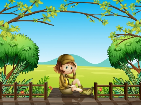 girl scout: Illustration of a girl sitting at the wooden bridge