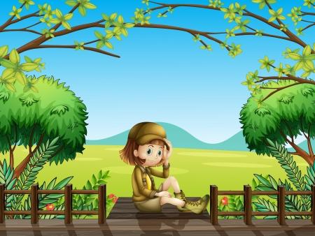 bridge hand: Illustration of a girl sitting at the wooden bridge