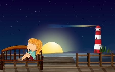 bench alone: Illustration of a girl at the wooden bridge Illustration