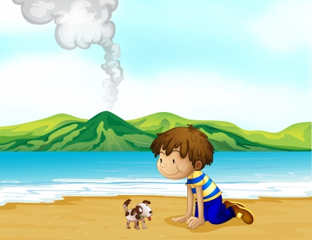Illustration of a little boy and his pet at the beach Vector