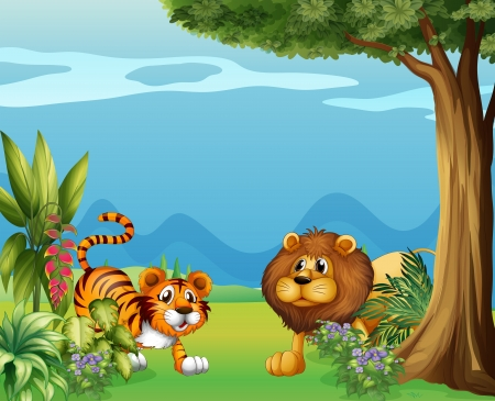 Illustration of a lion and a tiger near the hills Stock Vector - 17896720