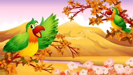 Illustration of parrots in an autumn scenery Vector