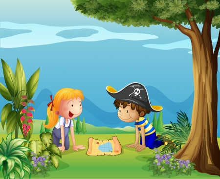 kids garden: Illustration of the adventurous kids Illustration