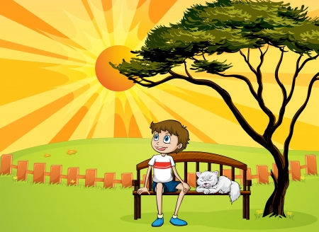 Illustration of a boy and a cat sitting on a bench and a beautiful landscape Vector