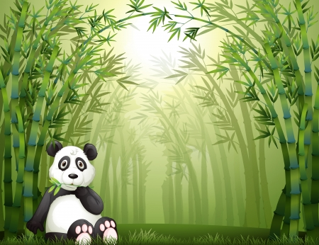 panda bear: Illustration of a sitting panda bear in a bamboo forest