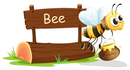 board: Illustration of a notice board and a honey bee on a white background