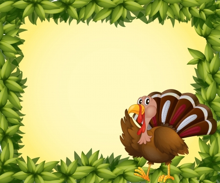 caruncle: Illustration of a turkey on a leafy frame