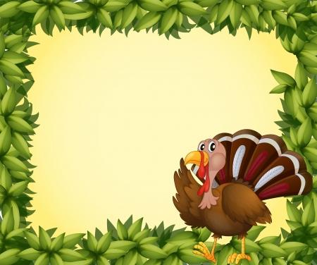 caruncle: Illustration of a turkey on a leafy frame