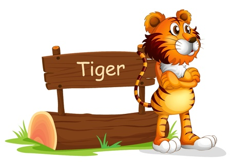 brown eyes: Illustration of a tiger beside a wooden signboard on a white background