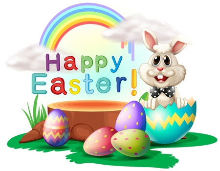 sunday: Illustration of a happy Easter greeting with a bunny and eggs on a white background