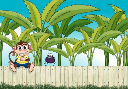 Illustration of a monkey and a spider on the fence Vector