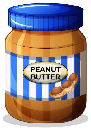 pan con mantequilla: Ilustraci�n de un tarro de mantequilla de cacahuete en un fondo blanco