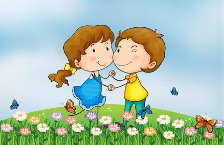 hands holding plant: Illustration of a smiling girl and a boy in a beautiful nature