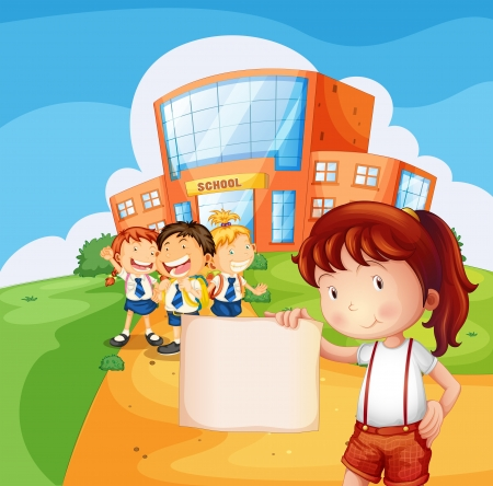 school girl uniform: Illustrazione di una ragazza in possesso di un documento vuoto