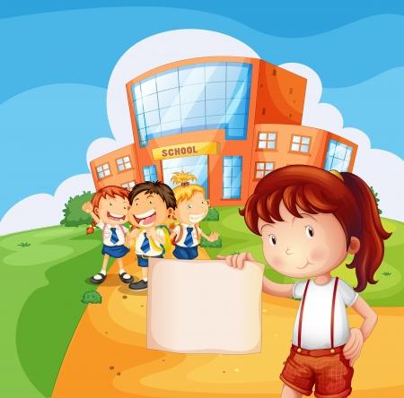 niños sosteniendo un cartel: Ilustración de una muchacha que sostiene un papel en blanco