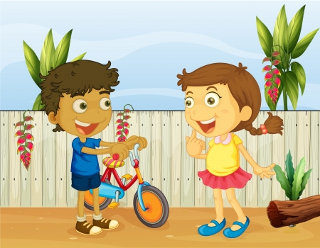 Illlustration of two children talking Vector
