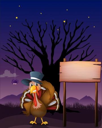 snood: Illustration of a turkey beside a blank board Illustration