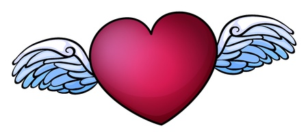 red winged: Illustration of a red heart on a white background