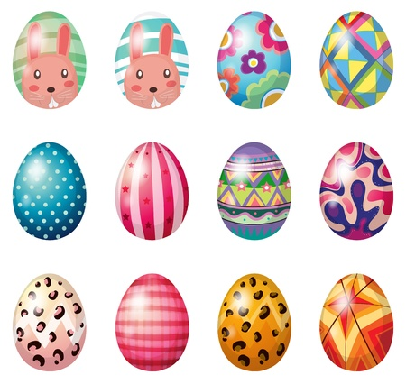 Illustration of easter eggs with colorful designs on a white background Vector