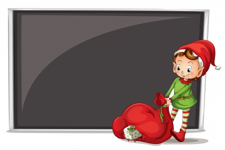 Illustration of an elf beside a blank board on a white background