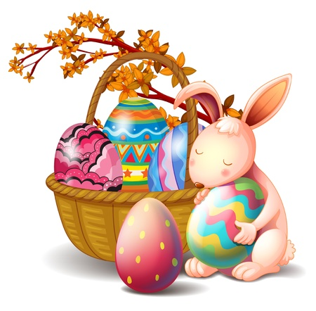 canvass: Illustration of a basket full of eggs and a rabbit on a white background