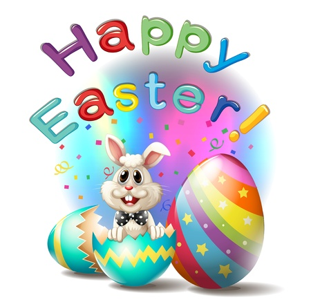 conejo caricatura: Ilustraci�n de un cartel feliz de Pascua en un fondo blanco