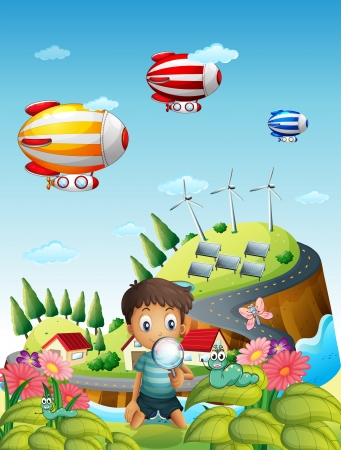 Illustration of airships, a village and a boy in the garden Vector