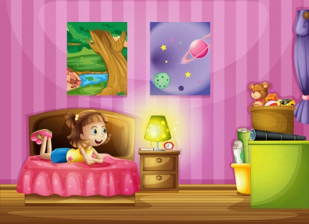 bedroom wall: Illustration of a little girl inside her colorful room