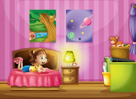 child bedroom: Ilustraci�n de una ni�a en el interior de su habitaci�n de colores