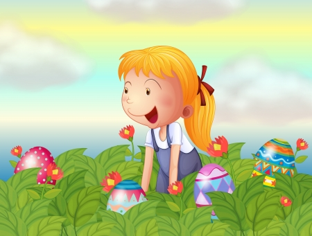 Illustration of a girl seeing eggs in the garden Stock Vector - 17897341