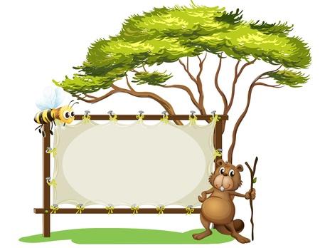castor: Ilustración de un castor con un palo cerca de una señalización en blanco sobre un fondo blanco Vectores