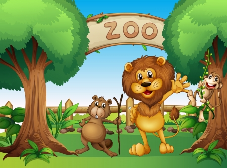 Illustration of a monkey, beaver and a lion in the zoo Vector