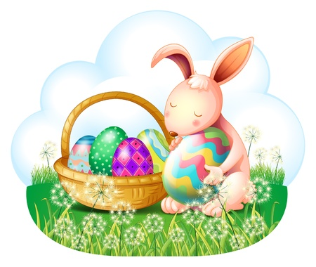 picure: Illustration of a bunny and a basket full of easter eggs on a white background