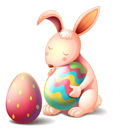 Illustration of a rabbit hugging a colorful easter egg on a white background Illustration
