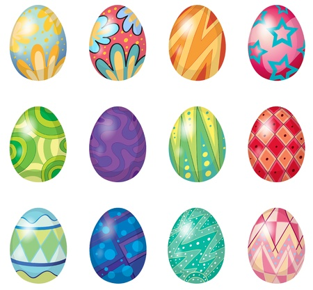 cartoon bunny: Illustration of twelve easter eggs on a white background