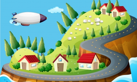 blimp: Illustration of a spaceship and a village