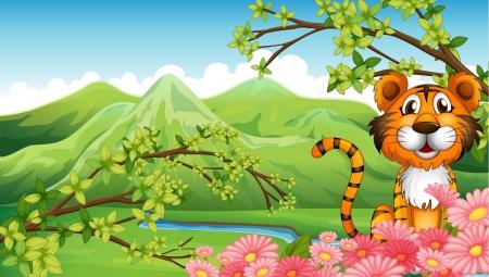 tigre bebe: Ilustración de un tigre cerca de las flores a través de las montañas