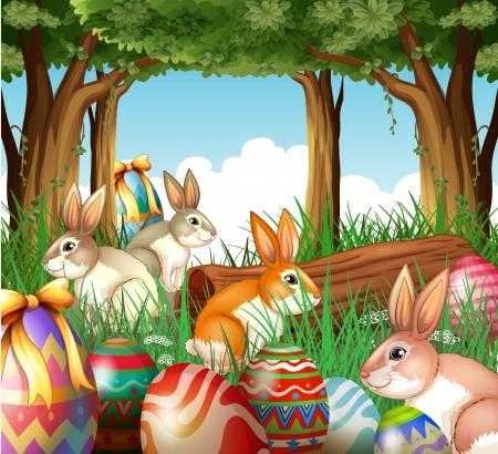arbol de pascua: Ilustraci�n de un grupo de conejitos y huevos de Pascua sobre un fondo blanco