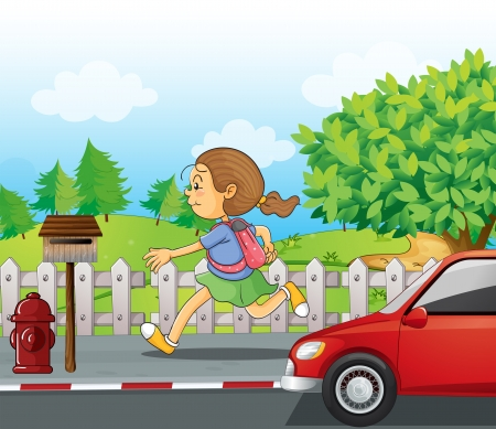 Illustration of a girl running in the street Vector