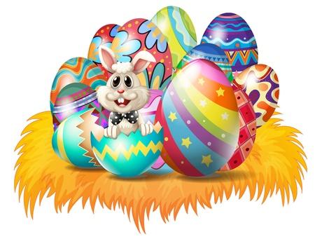 joyeuses p�ques: Illustration des oeufs de P�ques avec un lapin de P�ques sur un fond blanc Illustration